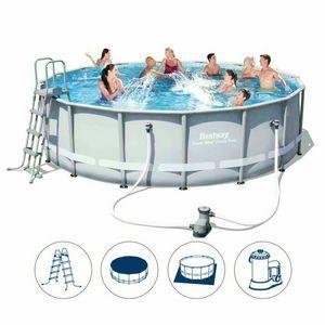 Piscina fuoriterra Bestway 56451 rotonda power steel 488x122cm - 56451, Grande piscina fuori terra