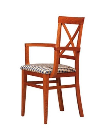 311 P, Sedia con braccioli e schienale in legno, per pub