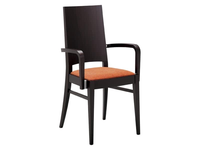 PL 121, Sedia moderna in legno con braccioli, per ristorante