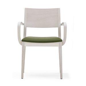 Sintesi 01521, Poltroncina in legno massiccio, seduta imbottita, stile moderno