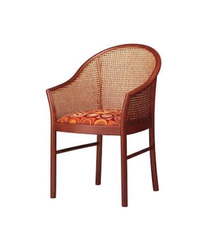 404, Poltroncina elegante in faggio, schienale in paglia di Vienna