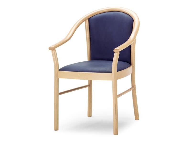 MT/14, Poltroncina con braccioli in legno, seduta e schienale imbottiti