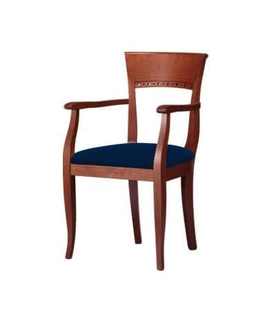 C18, Sedia con braccioli, in legno di faggio, per sale da pranzo