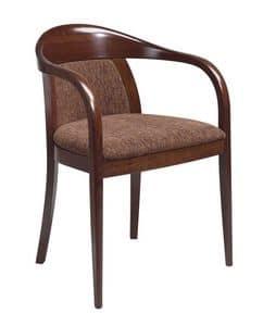C25, Poltroncina in faggio curvato, seduta e schienale imbottiti, ricoperti in tessuto, per uso contract