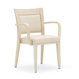 Logica 00927, Poltroncina impilabile, seduta e schienale imbottiti, struttura in legno, per ambienti contract