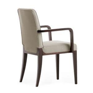 Opera 02221, Poltroncina in legno massiccio, seduta e schienale imbottiti, copertura in tessuto, stile moderno