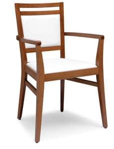 PL 4472 / CP, Poltroncina in legno, seduta e schienale imbottiti, per ristoranti