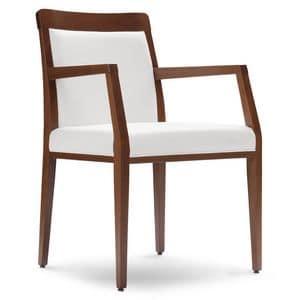 PL 49 EP, Poltroncina in legno, sedile ricoperto in ecopelle, per ristoranti e hotel