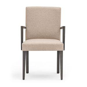 Zenith 01621, Poltroncina con struttura in legno, seduta e schienale imbottiti, copertura in tessuto, per ambienti contract e domestici