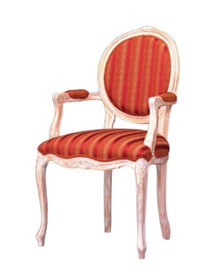 1051, Sedia con braccioli rivestiti, per ristorante classico