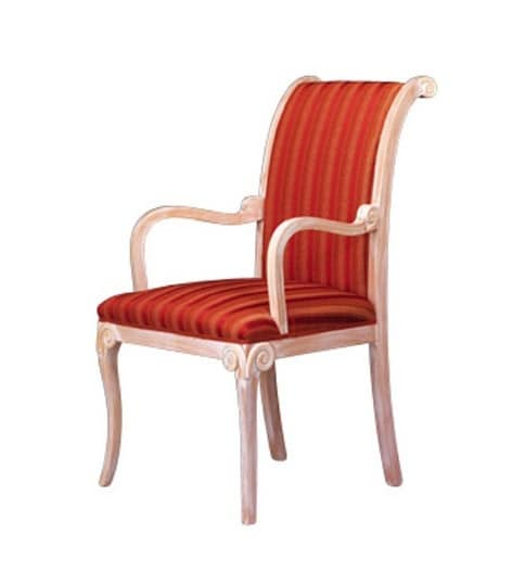 1091, Sedia con braccioli classica, in faggio, per sala attesa