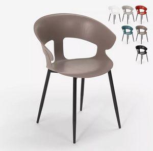 Sedia design moderno in metallo polipropilene per cucina bar ristorante Evelyn SC782, Sedia in metallo e polipropilene