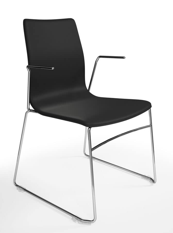 WOODY ELITE, Sedia impilabile ed attrezzabile, raffinato design italiano, per sale conferenze e ufficio