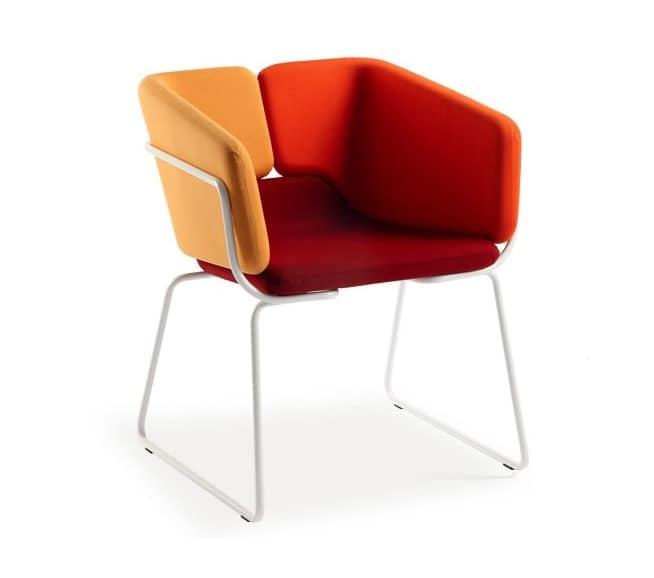 Mixx sled, Poltroncina modern, comoda e versatile, per alberghi uffici e ristoranti