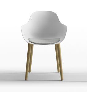 Pola Round P_4W, Poltroncina design in polipropilene, con gambe in legno