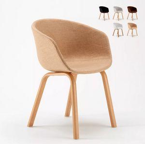 Sedia in Metallo Legno Tessuto per Cucina Bar Scandinavo Komoda SK697F, Comoda sedia imbottita