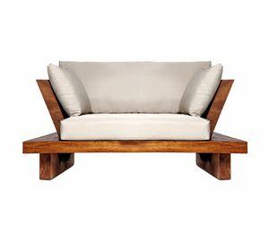 Suar 0204, Poltrona in legno massello e tessuto