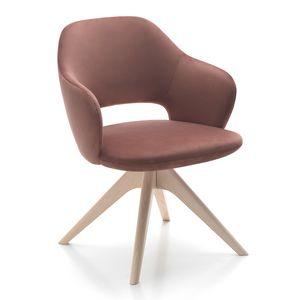 Vivian armchair, Poltroncina disponibile con diverse basi in legno