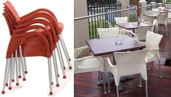 Beverly, Sedia con braccioli per uso esterno, impilabile, resistente