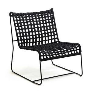 In/Out LO, Sedia lineare lounge, seduta in corda intrecciata, per interni ed esterni