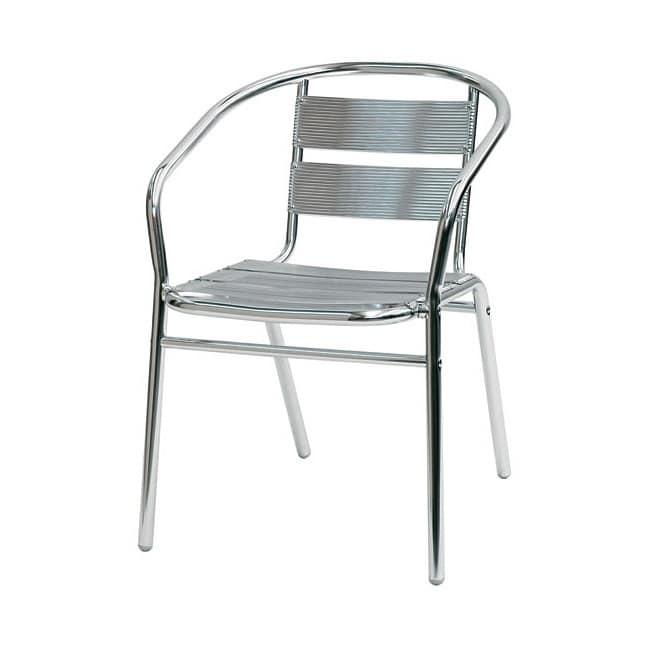 Sd est 1, Sedia con braccioli interamente in alluminio, per esterni