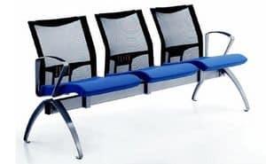 AVIANET 3600 B3 + OPT1, Sedute su barra con schienale in rete e braccioli