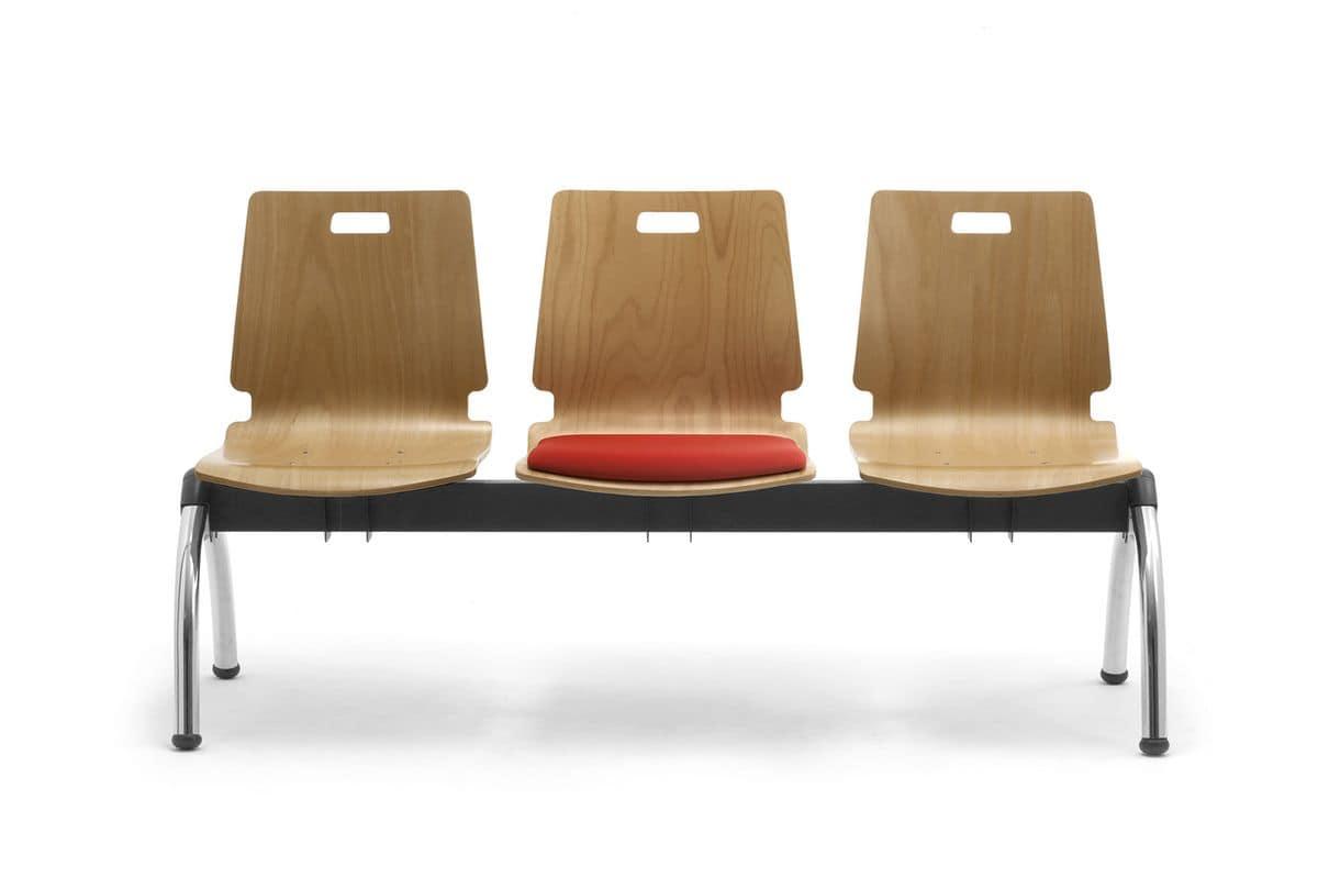 Cristallo panca con tavolino, Panca con sedute in multistrato, per sale d'attesa