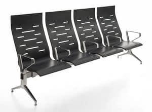 Keyport, Sedia su barra, in acciaio e poliuretano, per sale d'attesa