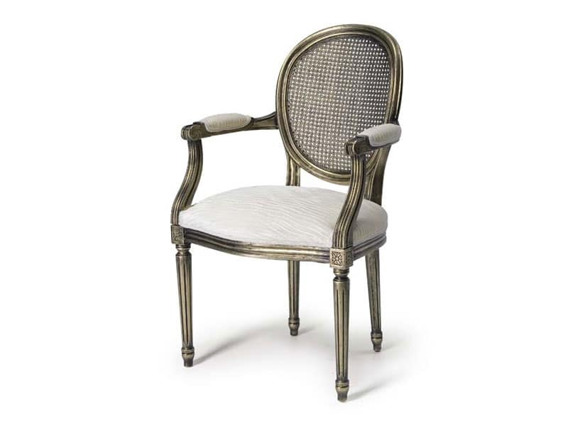 Art.105 poltrona, Poltroncina con sedile e schienale in paglia, stile Luigi XV