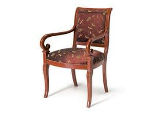 Art.467 poltrona, Poltroncina in stile classico, seduta e schienale imbottiti