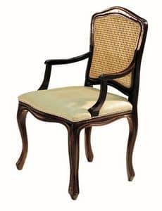 Da Vinci RA.0986, Capotavola ebanizzato, seduta imbottita, schienale in paglia di Vienna