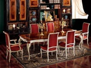 Display poltrona 838 P, Poltroncina imbottita per sala da pranzo, stile classico