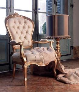 Giorgione poltroncina, Poltroncina imbottita in pelle, per salotto classico