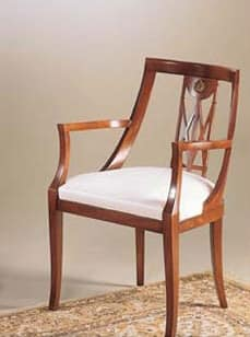 IMPERO / Poltroncina imbottita, Poltroncina in legno con seduta imbottita, stile classico