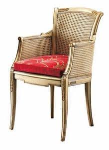 Isabella FA.0160, Poltroncina cann� con seduta imbottita, ideale per salotti in stile classico di lusso