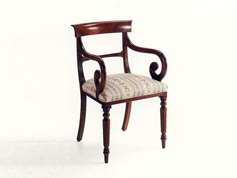 Mr. Morris, Sedia capotavola classica, seduta imbottita, struttura in ...