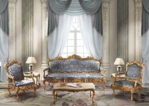 1009, Divano 3 posti in stile classico di lusso, finiture foglia oro