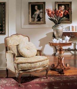 3210 POLTRONA LUIGI XV, Poltrona imbottita classica di lusso, stile Luigi XV
