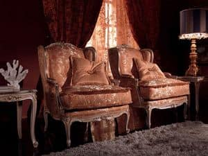 Anna Big poltrona, Poltrona con decori preziosi, struttura in legno massello