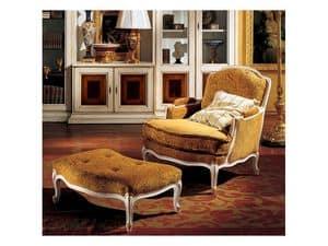 Complements lounge set 848 849, Poltrona classica con poggiapiedi