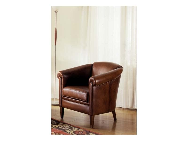 Tilburg, Poltrona in stile classico, imbottita, per sala di lusso