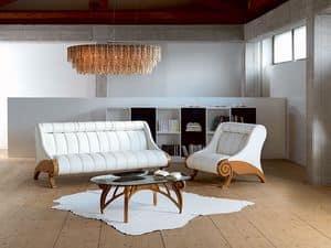 PO21 Contemporary poltrona, Poltrona rivestita regolabile, struttura in legno, moderna