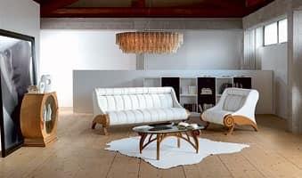 PO55 Contemporary poltrona, Poltrona rivestita regolabile, struttura in legno, moderna