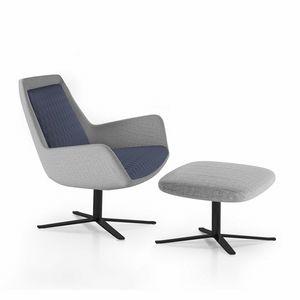 Roxy armchair, Poltrona con base in metallo, girevole