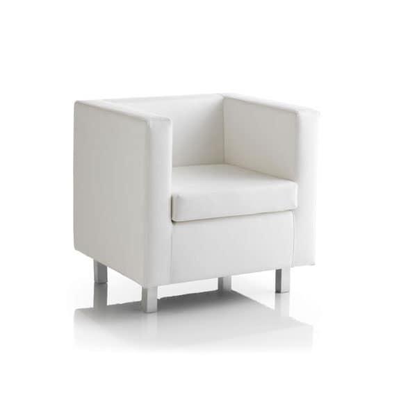 Kubo 01, Poltrona confortevole, piedini cromati, per Ufficio
