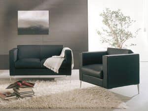 Matrix, Poltrona dal design moderno, base in metallo, aree attesa