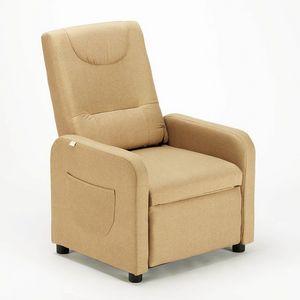 Poltrona Relax Reclinabile con Poggiapiedi in Tessuto ANNA Design - SR6203FE, Poltrona relax in tessuto