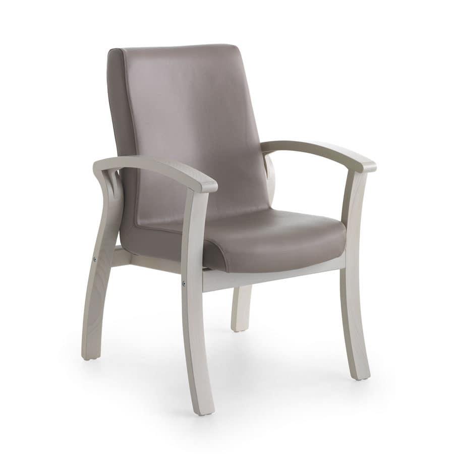 Silver Age 06 FIX, Poltrona lavabile, seduta ampia, per casa di riposo