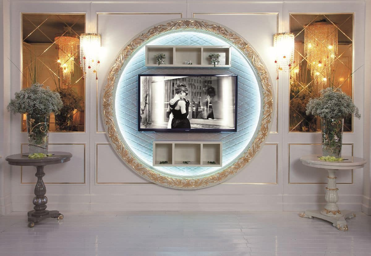 Art. 110, Porta tv in stile classico di lusso, fissaggio a parete