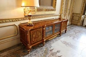 Art. 631/TV, Mobile porta tv, in stile classico di lusso, con intagli e intarsi artigianali